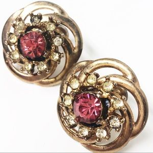 Vintage Pink & Gold Screw Back Earrings